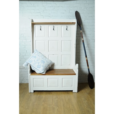 3 SEATER MONKS STORAGE BENCH in Distressed Antique White