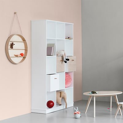 WOOD COLLECTION VERTICAL BOXED SHELVING UNIT in White