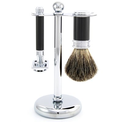 EDWIN JAGGER MEN'S DOUBLE EDGE RAZOR SHAVING KIT in Ebony Finish
