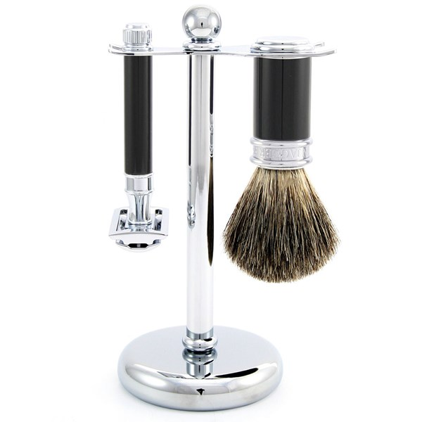 Edwin Jagger Men's Double Edge Razor Shaving Kit Ebony Finish
