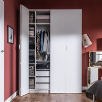 4YOU BI FOLD 4 DOOR WARDROBE with Built in Drawers in White  240cm