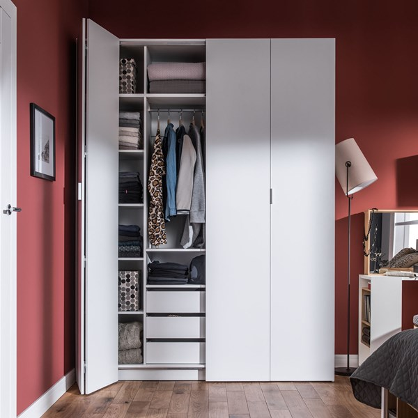 4 You Bi Fold 4 Door Wardrobe with Built in Drawers in White
