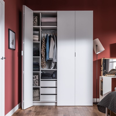 Vox 4 You Bi Fold 4 Door Wardrobe with Built in Drawers in White