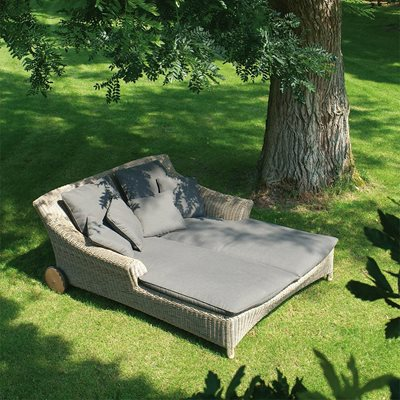 VALENTINE RATTAN SUN LOUNGER IN PURE by 4 Seasons Outdoor