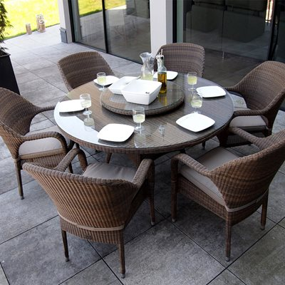 Sussex Garden Dining Table & Stackable Chairs Set by 4 Seasons Outdoor