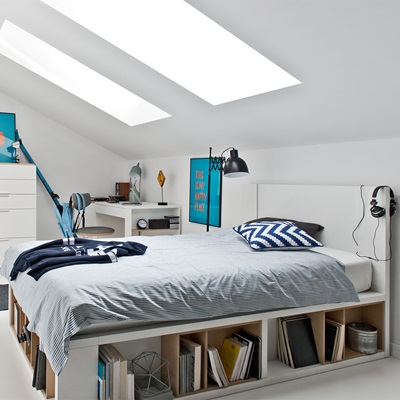 VOX 4YOU BED WITH STORAGE SHELVES in White