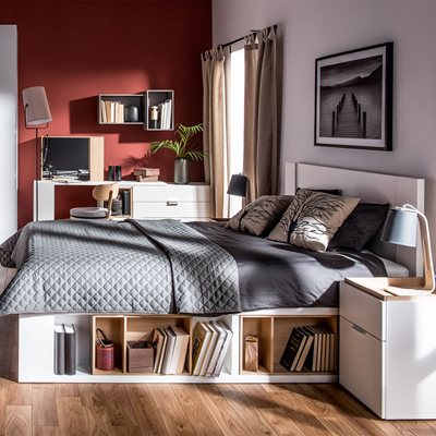 4YOU BED WITH RAISED MATTRESS MECHANISM in White