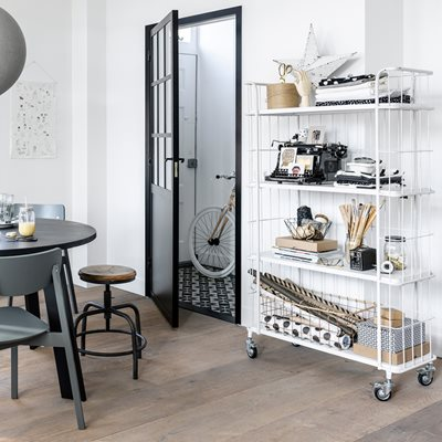 INDUSTRIAL TROLLEY STORAGE with 4 Shelves in White