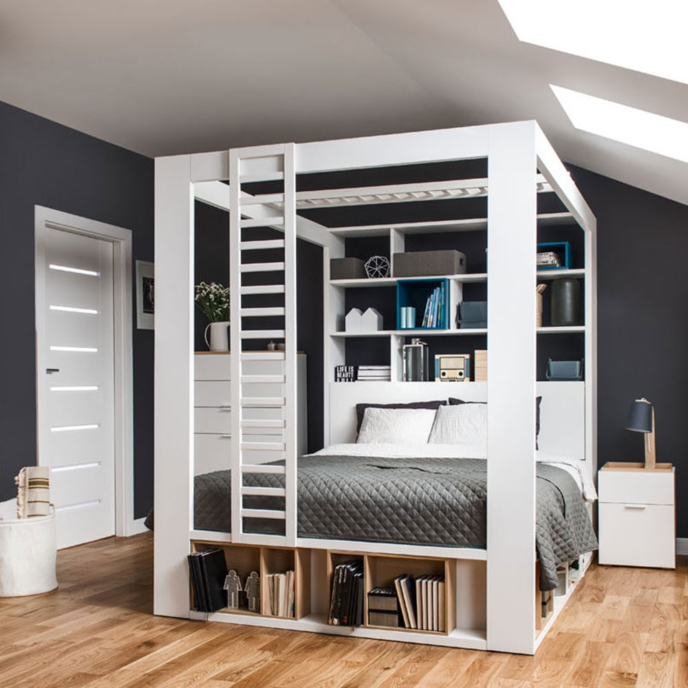 Vox 4you 4 Poster King Bed With Storage Shelves In White Vox