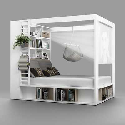 White Single Bed With Storage Part - 15: ... 4YOU-Storage-Bed-with-Canopy.jpg ...