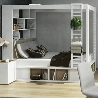 4YOU 4 POSTER KING BED WITH STORAGE & SHELVES in White