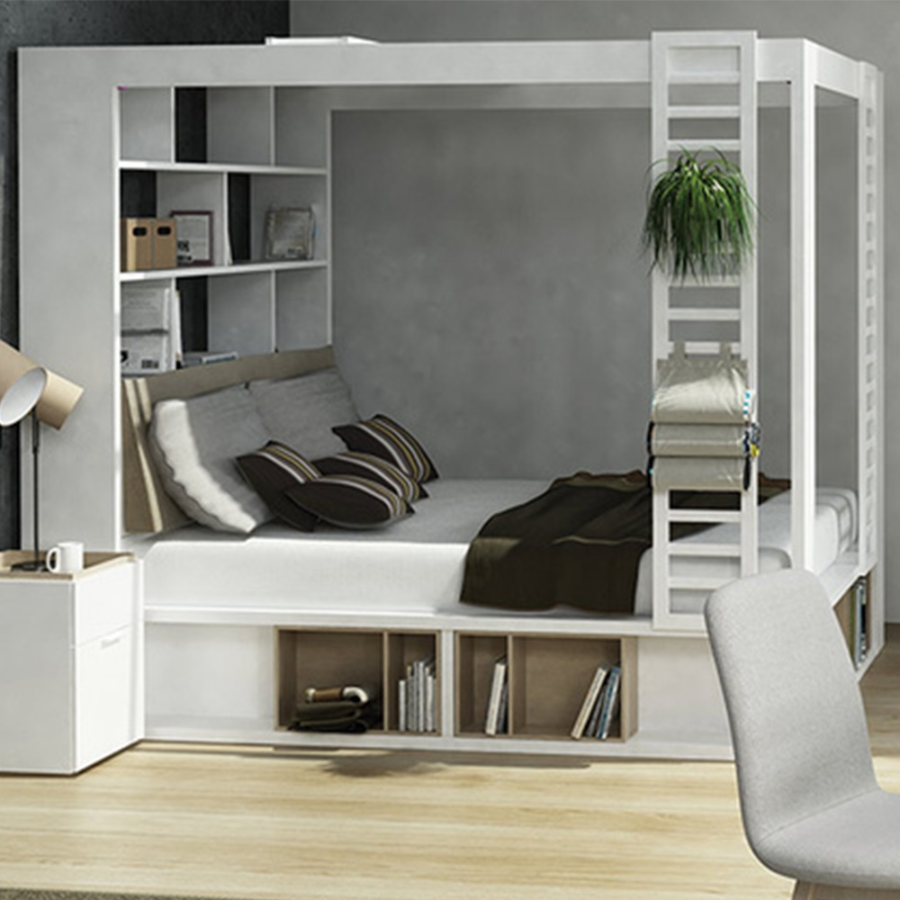 Vox 4you 4 Poster King Bed With Storage Amp Shelves In White