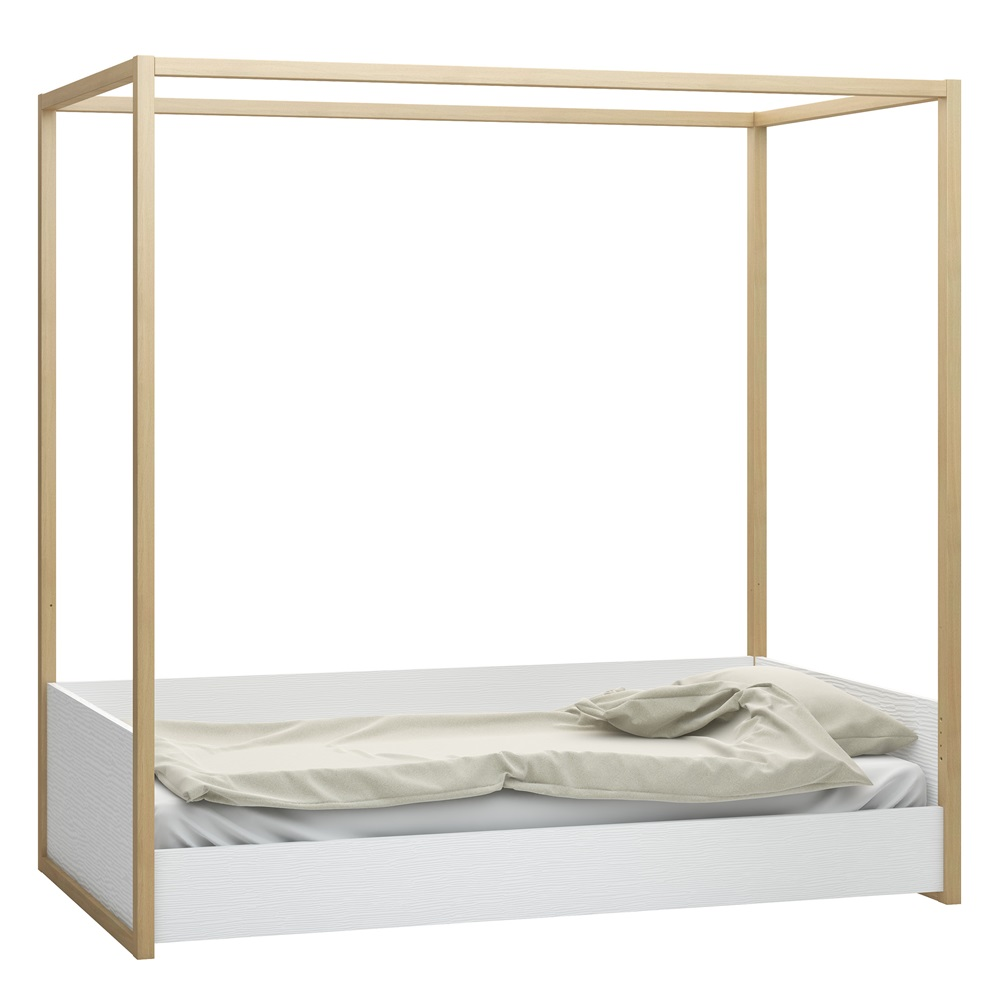 Scandi style 4you kids 4 poster bed in white oak for 4 poster white bed