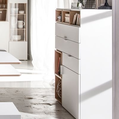 4YOU SIDEBOARD WITH 3 DRAWERS & CUPBOARD in White