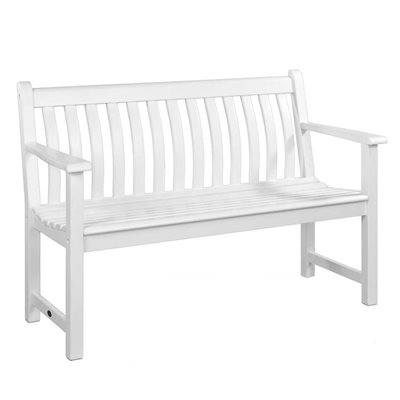 NEW ENGLAND BROADFIELD 4FT GARDEN BENCH in White by Alexander Rose