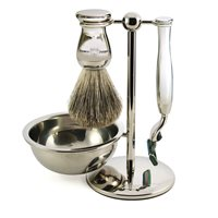 EDWIN JAGGER MENS SHAVING BRUSH SET with Stainless Steel Bowl