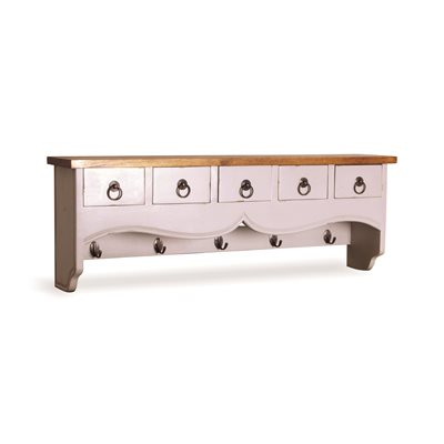 5 DRAWER WALL SHELF with Hooks in Antique White