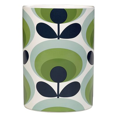 ORLA KIELY CERAMIC UTENSIL POT in 70s Green Oval Flower Print