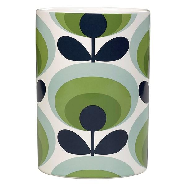 Orla Kiely Ceramic Utensil Jar in 70s Green Oval Flower Print