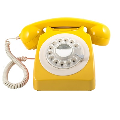 GPO 746 Retro Rotary Dial Phone in Mustard