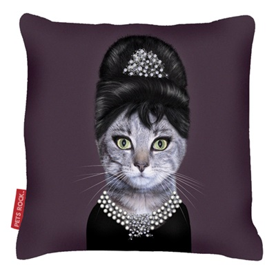 PETS ROCK CUSHION Breakfast at Tiffany's by Takkoda