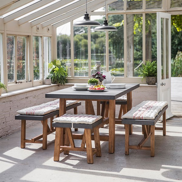 Contemporary Rectangular Dining Table with Stools and Benches
