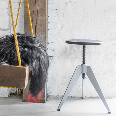 INDUSTRIAL ROUND METAL STOOL with Bamboo Fibre Top