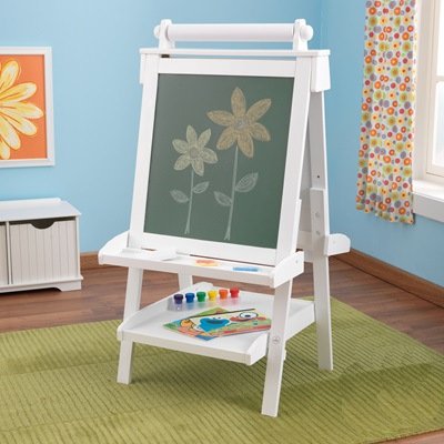 KIDS WOODEN ADJUSTABLE EASEL in White