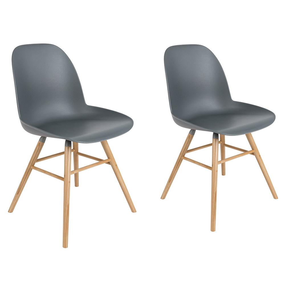 800ddabe0ff5 Zuiver Pair of Albert Kuip Retro Moulded Dining Chairs in Dark Grey