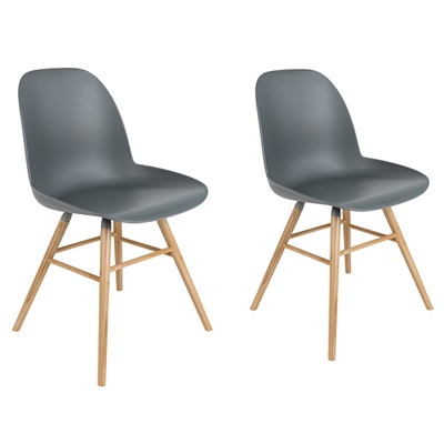 Zuiver Pair of Albert Kuip Retro Moulded Dining Chairs in Dark Grey