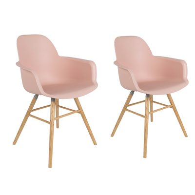 ZUIVER PAIR OF ALBERT KUIP RETRO MOULDED ARMCHAIRS in Powder Pink