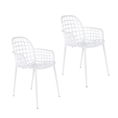 ZUIVER PAIR OF ALBERT KUIP GARDEN ARMCHAIRS in White