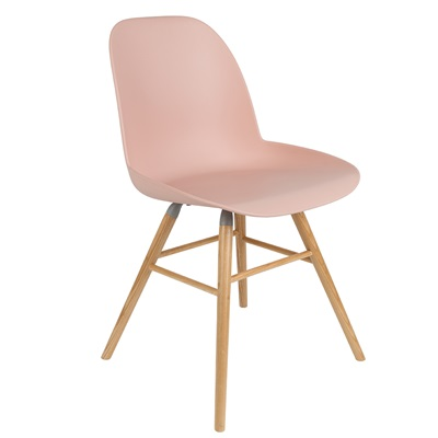A PAIR OF ALBERT KUIP RETRO MOULDED DINING CHAIRS in Powder Pink