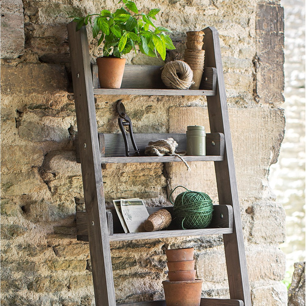 online store e355d 3512a Garden Trading Aldsworth Narrow Wooden Ladder Shelf
