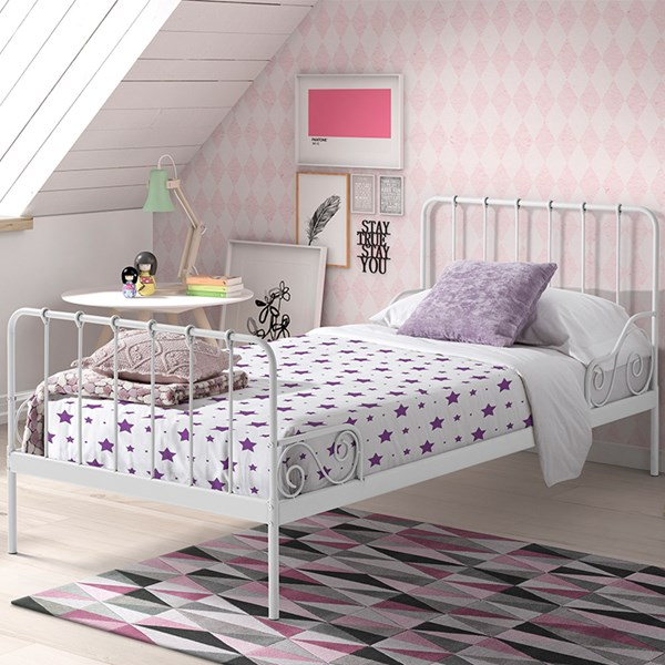 Alice Metal Single Kids Bed in White