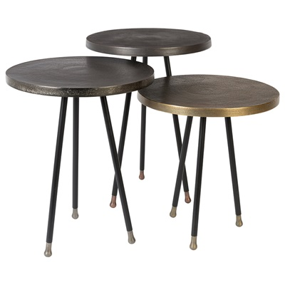 Dutchbone Alim Set of 3 Side Tables in Mixed Metals