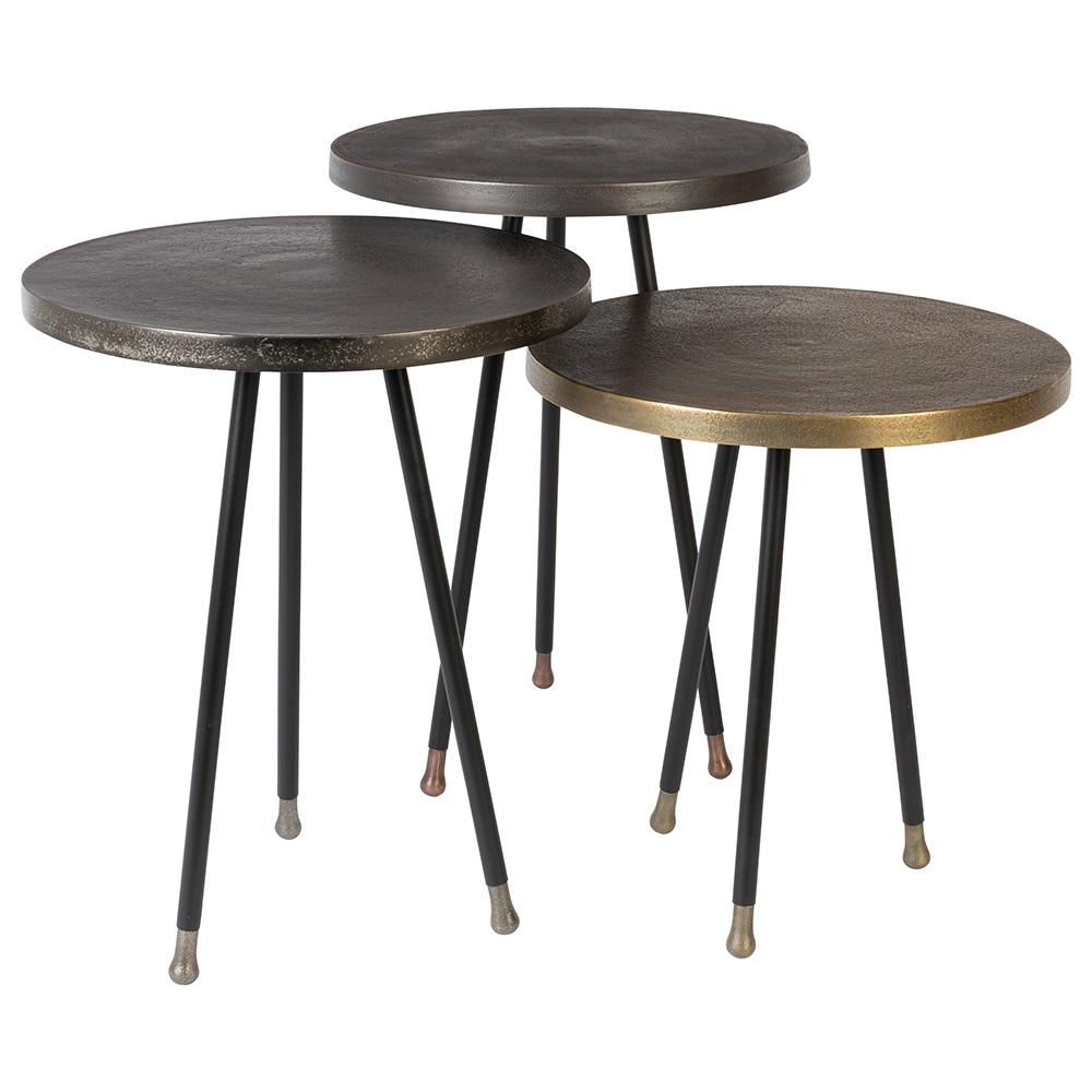 alim set of 3 side tables in mixed metals home garden. Black Bedroom Furniture Sets. Home Design Ideas