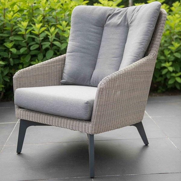 Contemporary Wingback Armchair with All Weather Cushions