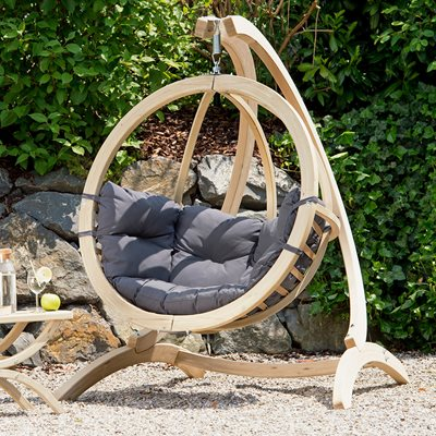GLOBO GARDEN HANGING CHAIR & STAND in Weatherproof Anthracite