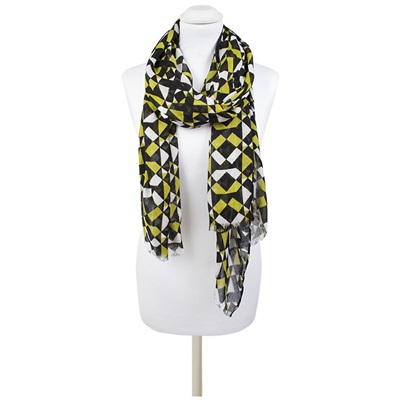 AMBERLEY Geometric Print Scarf in Black and Lime
