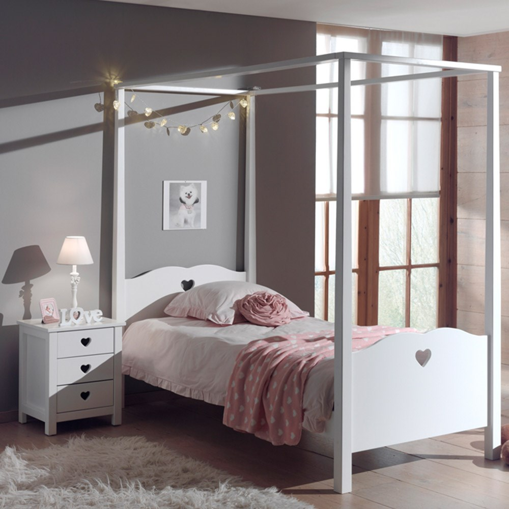 Amori Kids Four Poster Bed In White - Kids Beds | Cuckooland