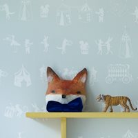 KIDS WALLPAPER Animal Parade in Mint Green