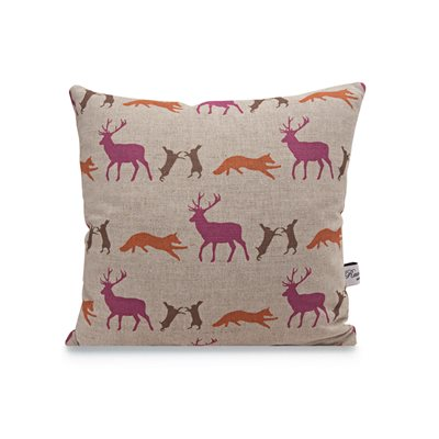 MIXED ANIMALS LINEN CUSHION by Raw Xclusive