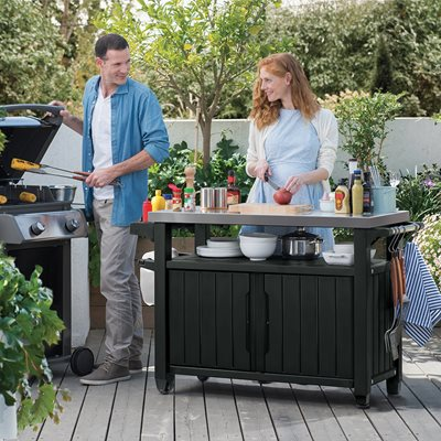 KETER LARGE BBQ TABLE in Anthracite Grey