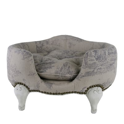 ANTOINETTE LUXURY DOG BED in Ecru Print