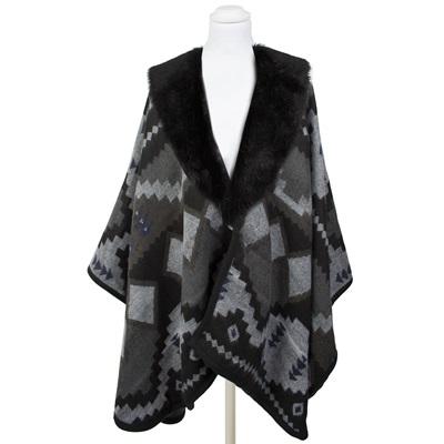Pia Rossini Aztec Faux Fur Wrap in Black & Grey