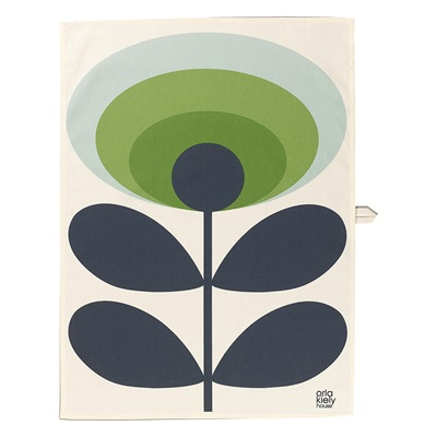 ORLA KIELY SET OF 2 TEA TOWELS in 70s Oval Flower Green Apple Print