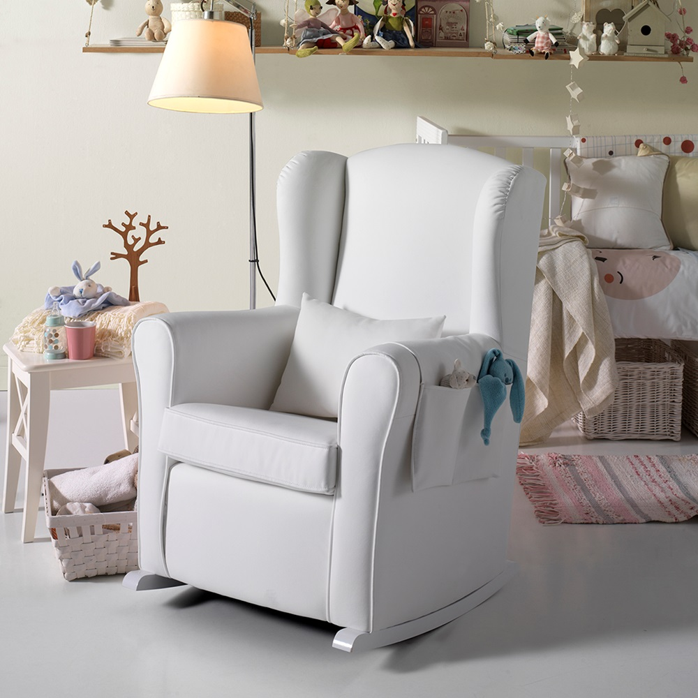 nursing chair in white leatherette nursing chairs. Black Bedroom Furniture Sets. Home Design Ideas