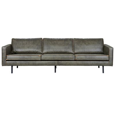 RODEO 3 SEATER LEATHER SOFA in Army Green