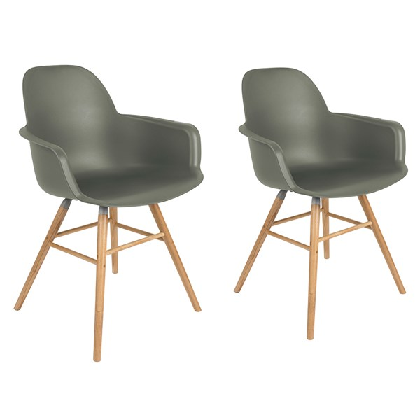 Zuiver Pair of Albert Kuip Retro Moulded Armchairs in Olive Green